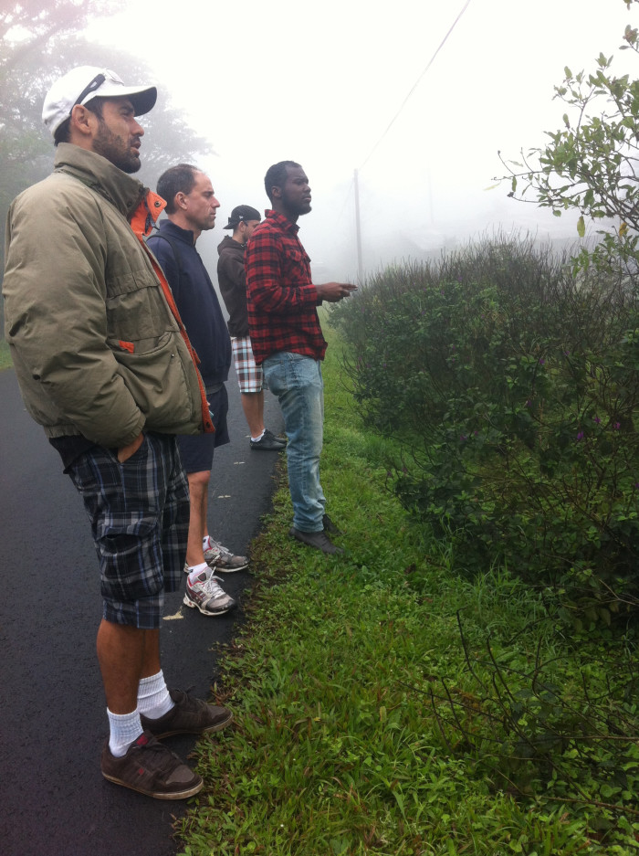 Manfred Cordero leads a group stalking hummingbirds in the Los Angeles cloud forest.
