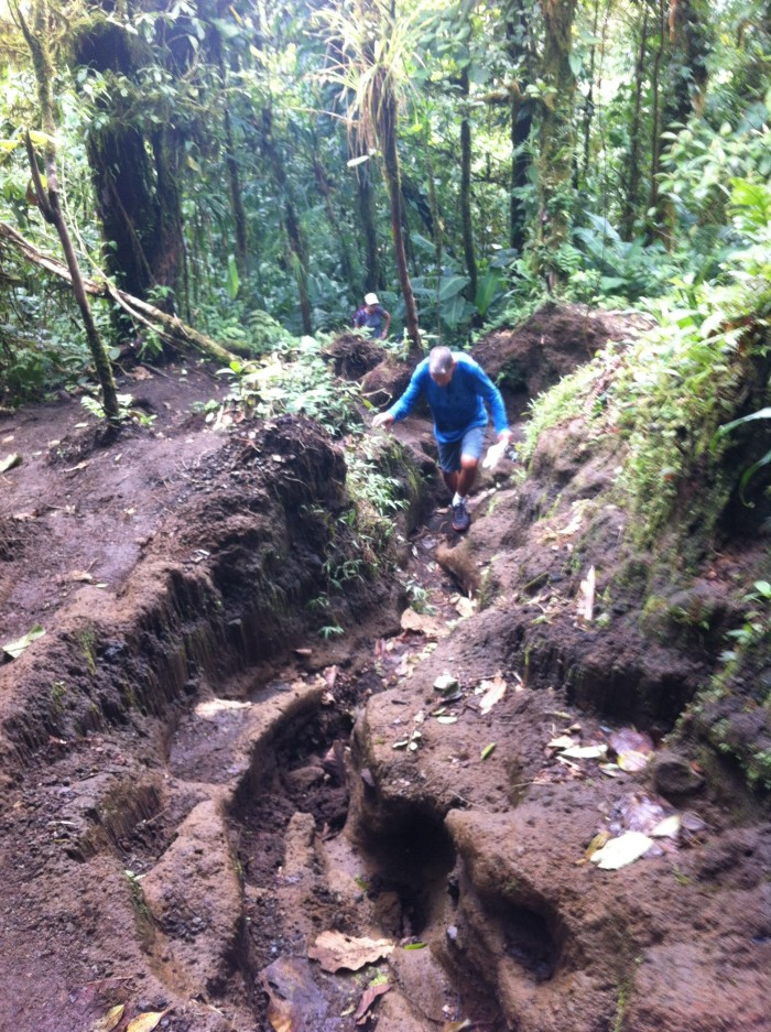 George McMackin climbs the steep trail up Cerro Chato.