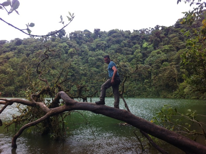 David Barboza balances on a tree at Laguna Cerro Chato.