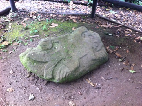 A petroglyph on one side of a boulder shows what's thought to be a lizard or amphibian.