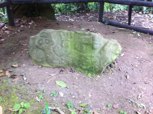 A petroglyph on the other side of the boulder appears to portray a jaguar.