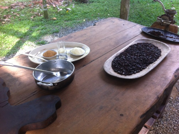 The magic ingredients: roasted cocoa beans, brown sugar, powdered milk, condensed milk, vanilla extract and water.