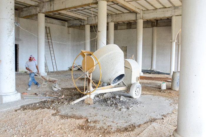 A cement mixer inside the Palacio Purapora.