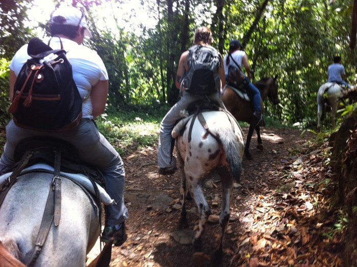 Riders on the Nuayaca Waterfall trail.