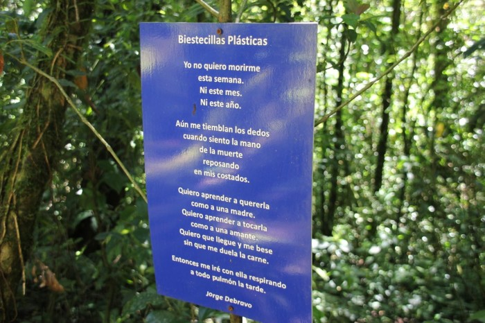 Local poetry is displayed on a sign at Espino Blanco.