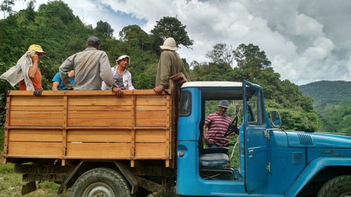 Enrique Navarro Sr. drives his farmers home after a full morning of preparatory work.