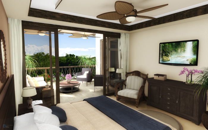 Artist's rendering of a master bedroom in one of the new residences that will be built at Crocodile Bay.