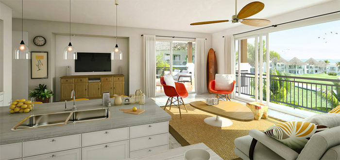 Artist's rendering of a unit at Pavones Point.