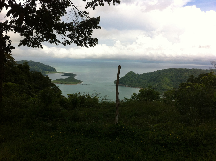 View of the Golfo Dulce from the mountain behind it.