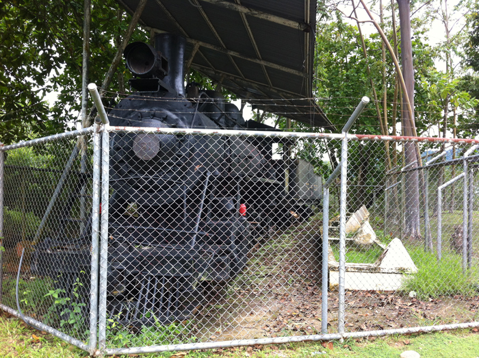 This locomotive in the town park was fenced in to keep people from living in it.
