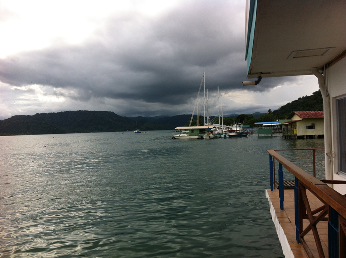 Storm clouds roll in over Golfito Bay.