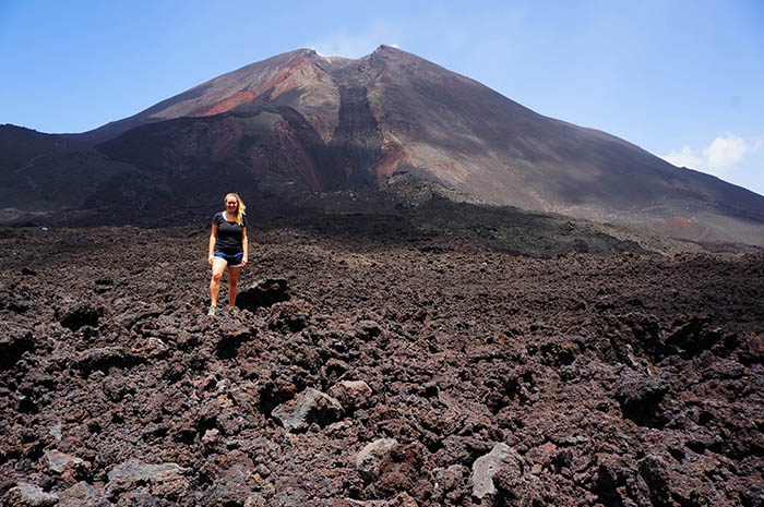 Writer Lauren Salisbury on Pacaya Volcano.