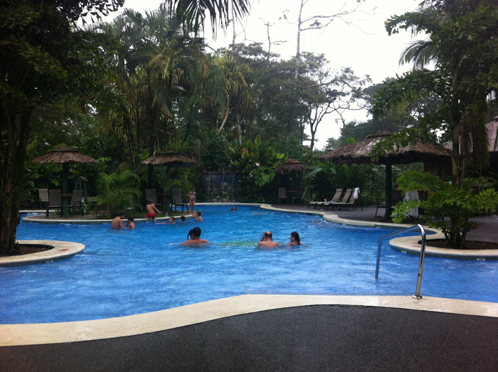 One of two swimming pools at Laguna Lodge in Tortuguero.