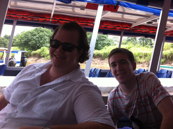 Jordan and Nathan, reunited on a boat in Costa Rica.