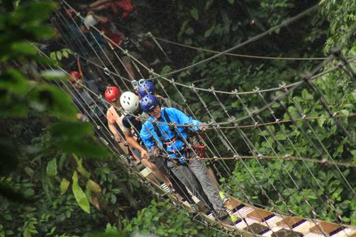 You put your left foot in, you put your left foot out: A scary hanging bridge.