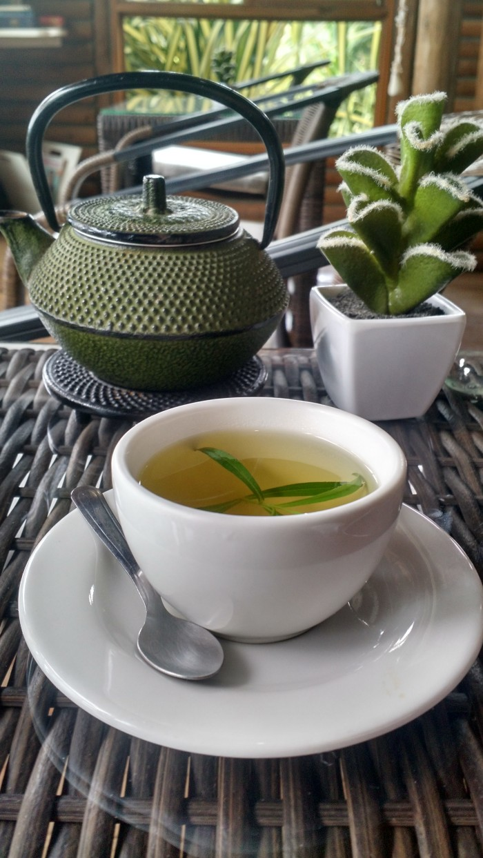 The home-grown tea at Horizon Hotel, a yoga resort that overlooks the Pacific Ocean.