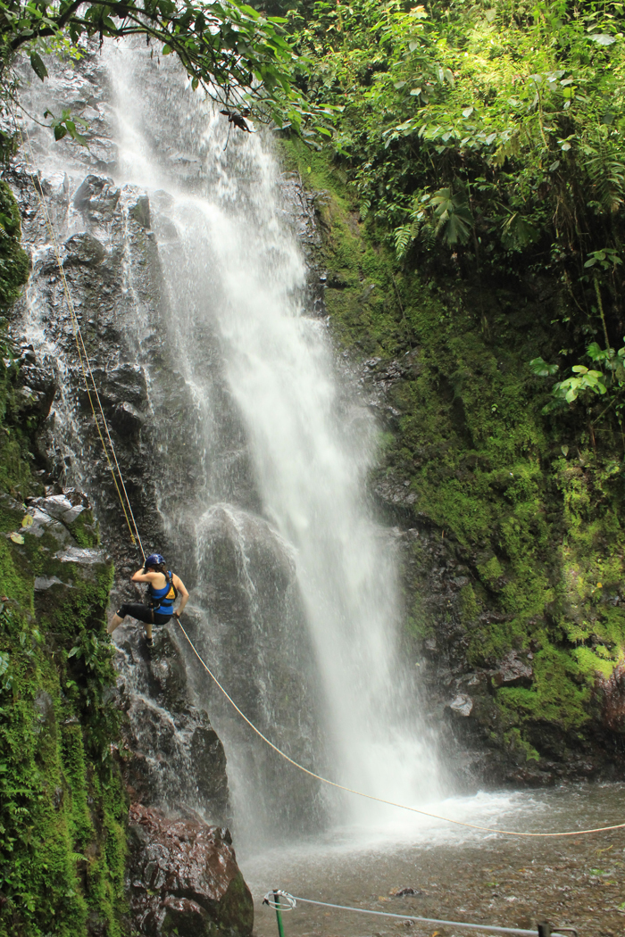 Waterfall rappelling.