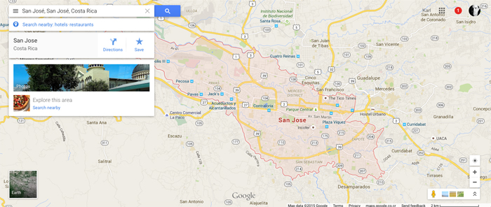 "Success! Result of search for ""San José, San José, Costa Rica"" on Google Maps."