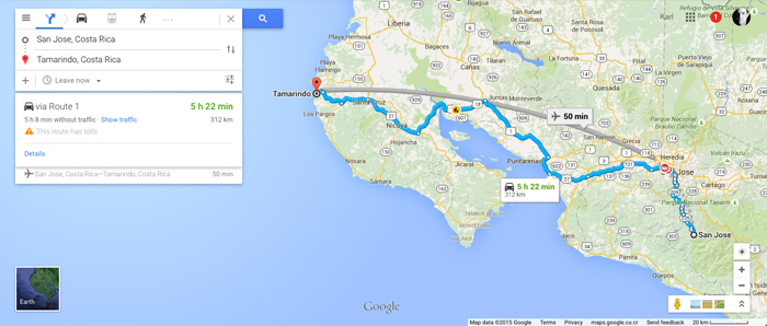 Directions from (the wrong) San José to Tamarindo.