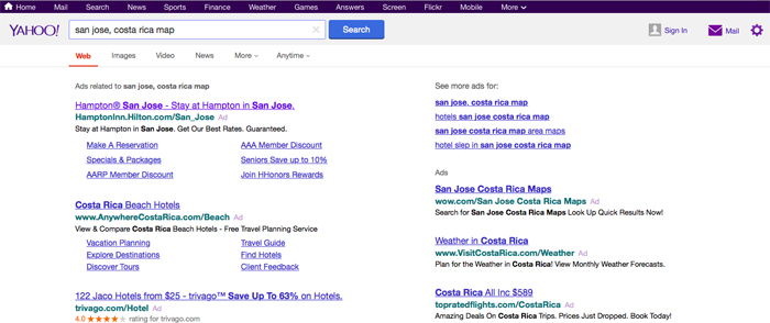 Result of search for San José, Costa Rica, on Yahoo Maps.