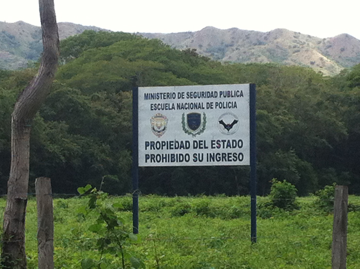 Sign at the entrance to Anastasio Somoza's old airstrip.