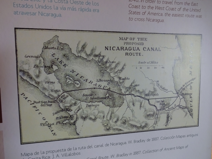 Map of a 19th-century plan to build a transcontinental canal in Honduras.