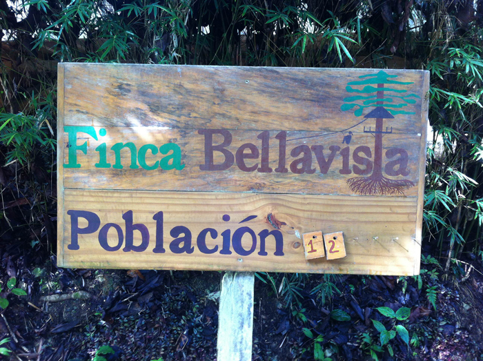 Finca Bellavista's population sign, days before closing for the season.