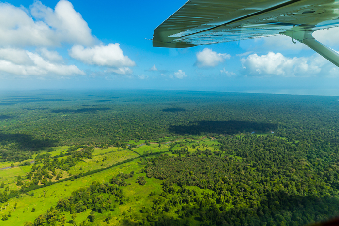Airplane view over the Caribbean lowlands, where Tortuguero National Park begins.