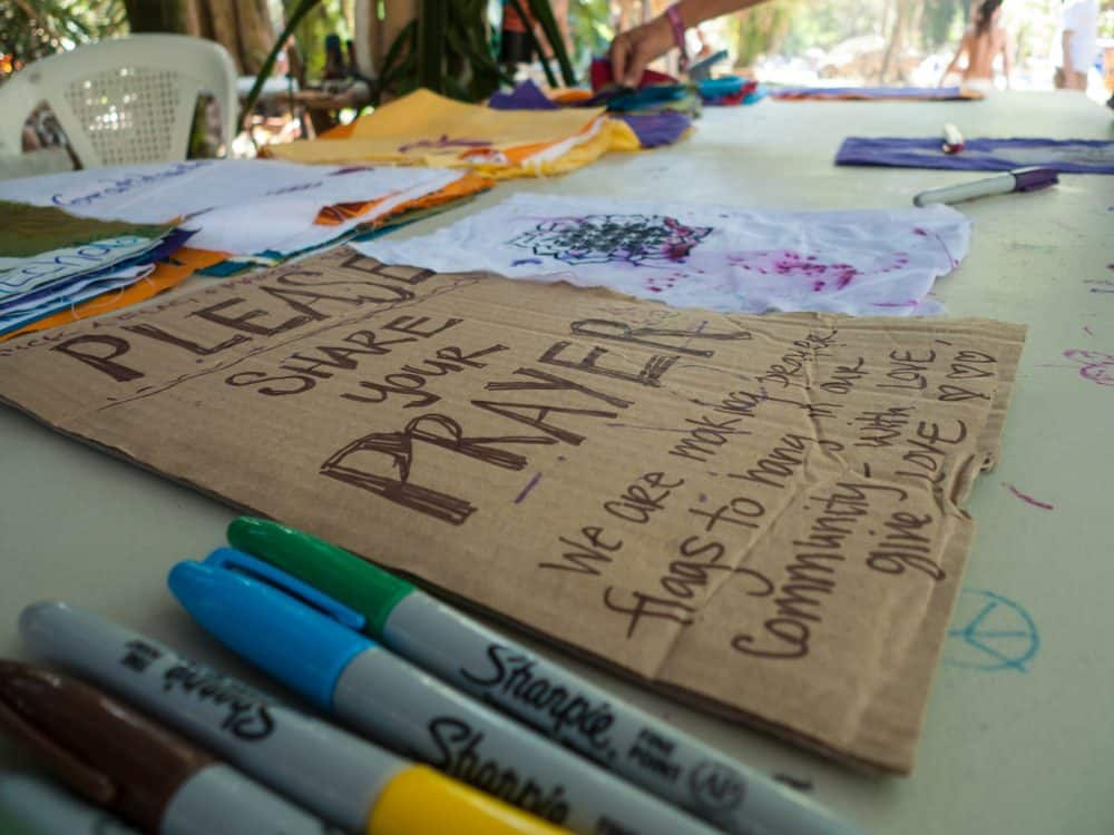 prayer flag decorating station