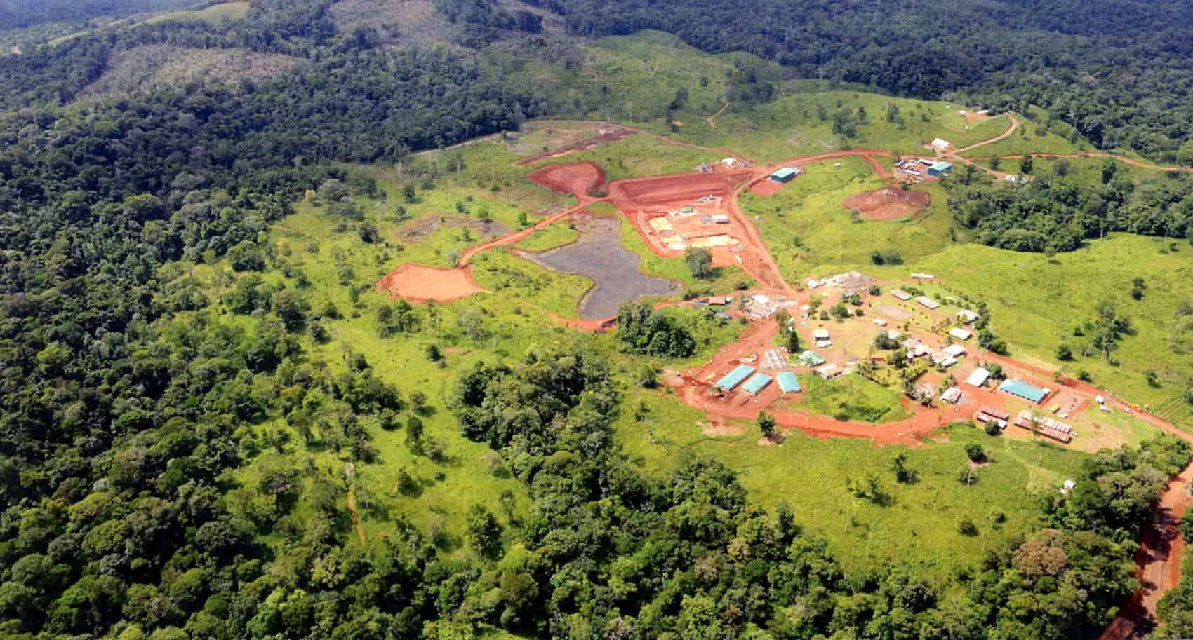 An aerial photograph of the Crucitas gold mining site in San Carlos, Alajuela, in northern Costa Rica.