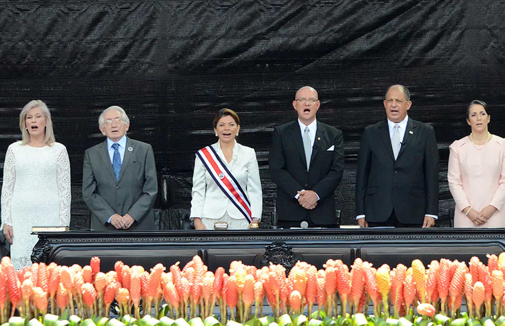 Singing the national anthem at President Luis Guillermo Solís's inauguration ceremony, May 8, 2014.