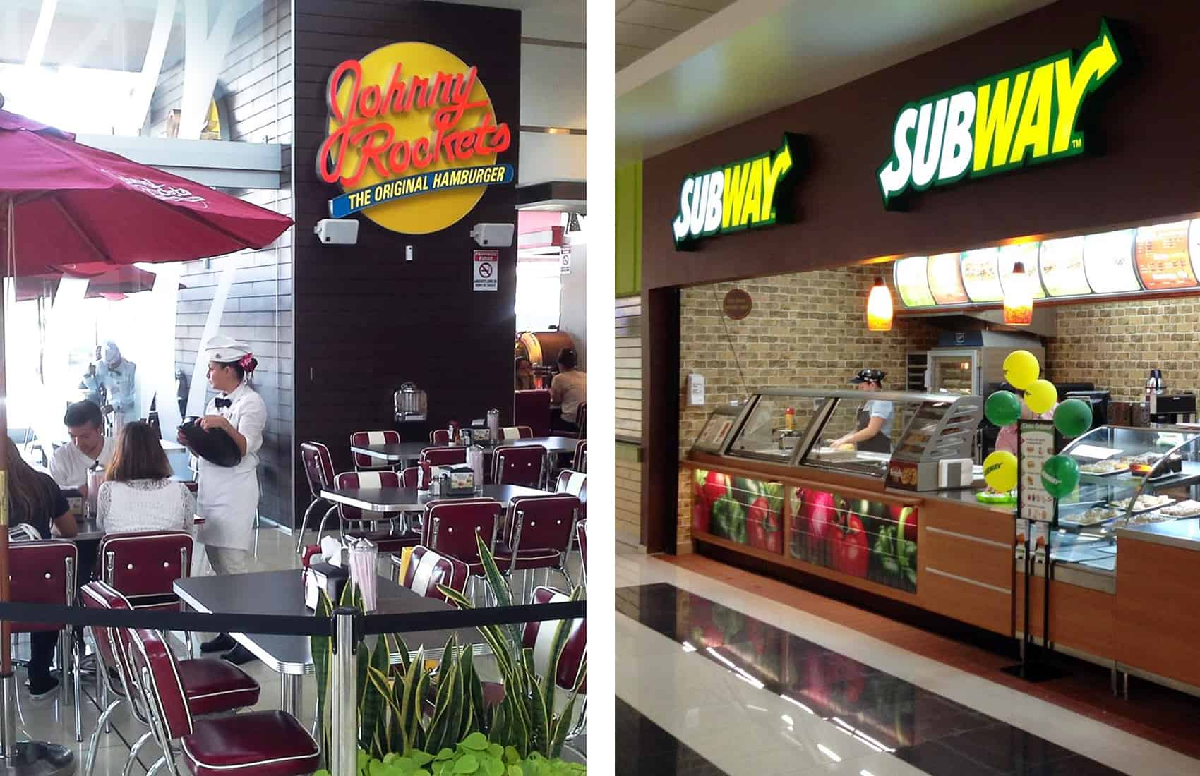 Johnny Rockets and Subway restaurants