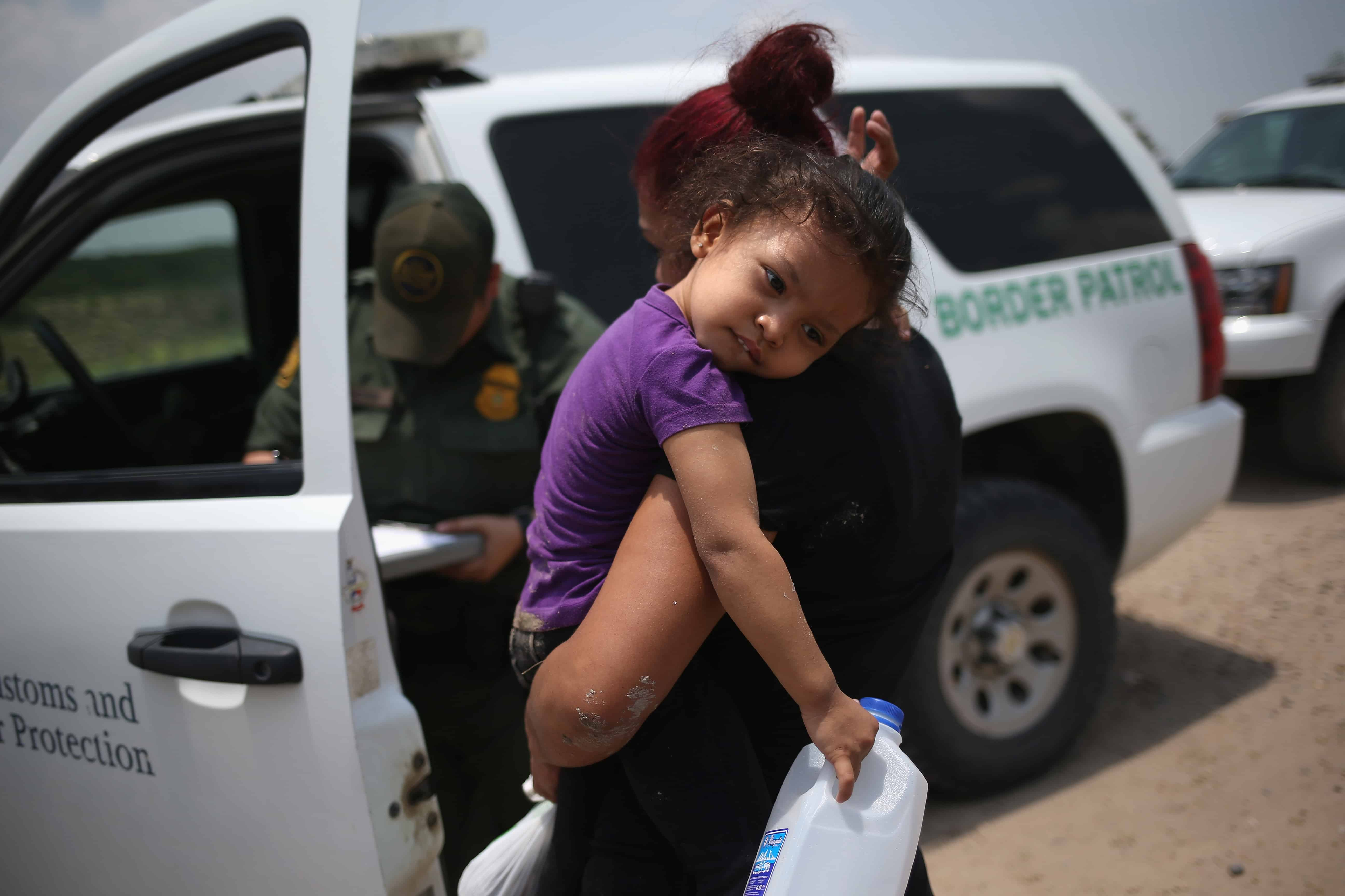 A mother and 3-year-old child from El Salvador.