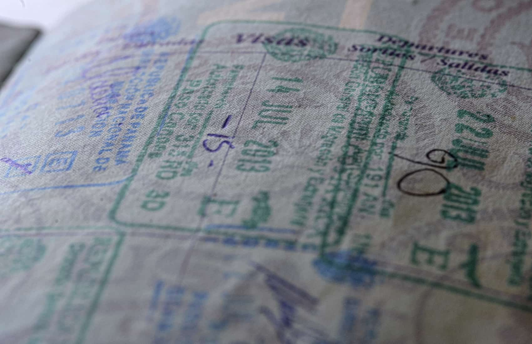 Costa Rica passport stamps.