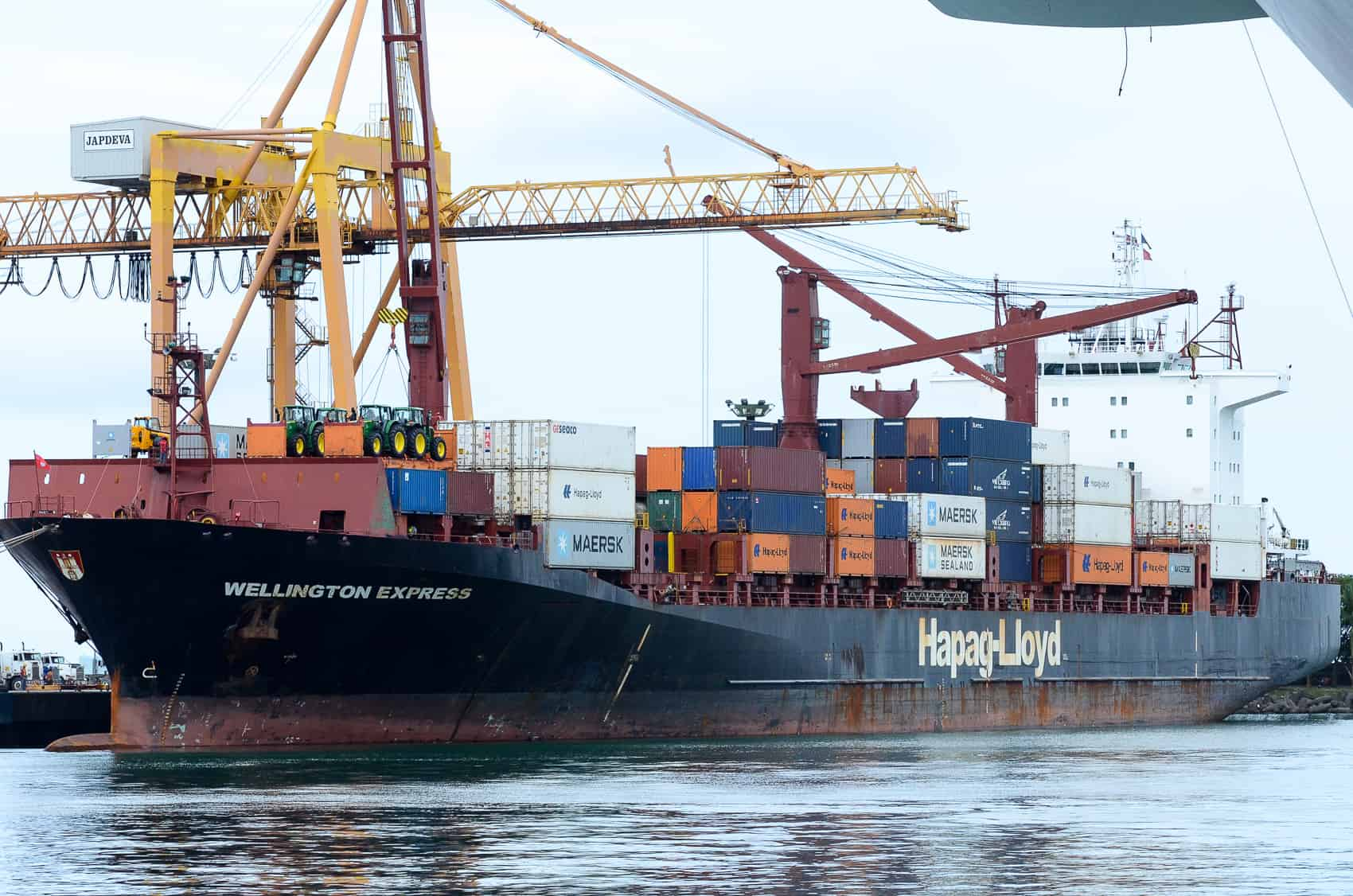 A ship unloads its cargo in Costa Rica's most important port in the Caribbean city of Limón.