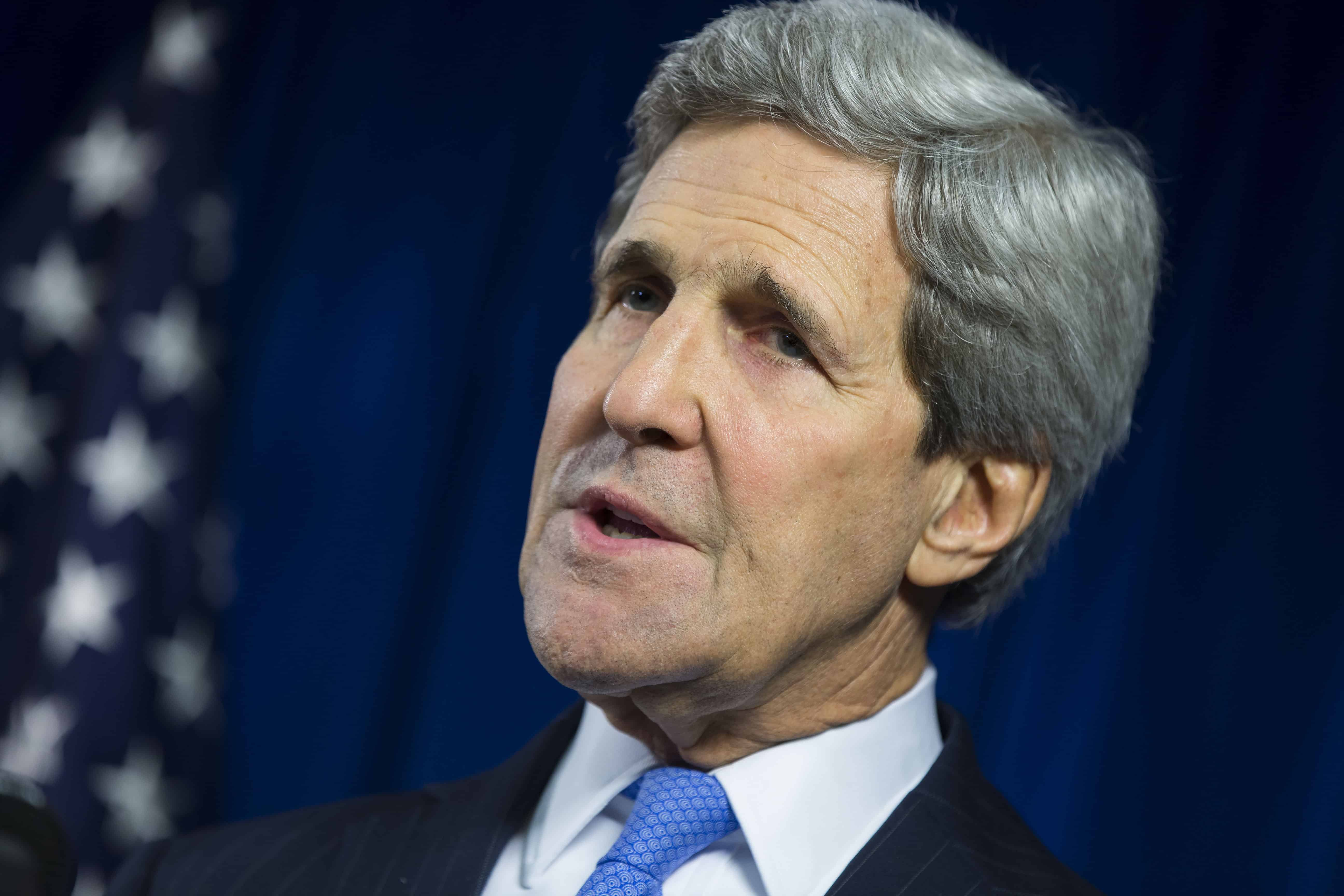 U.S. Secretary of State John Kerry speaks during a news conference at the U.S. Embassy in London, on Dec. 16, 2014.