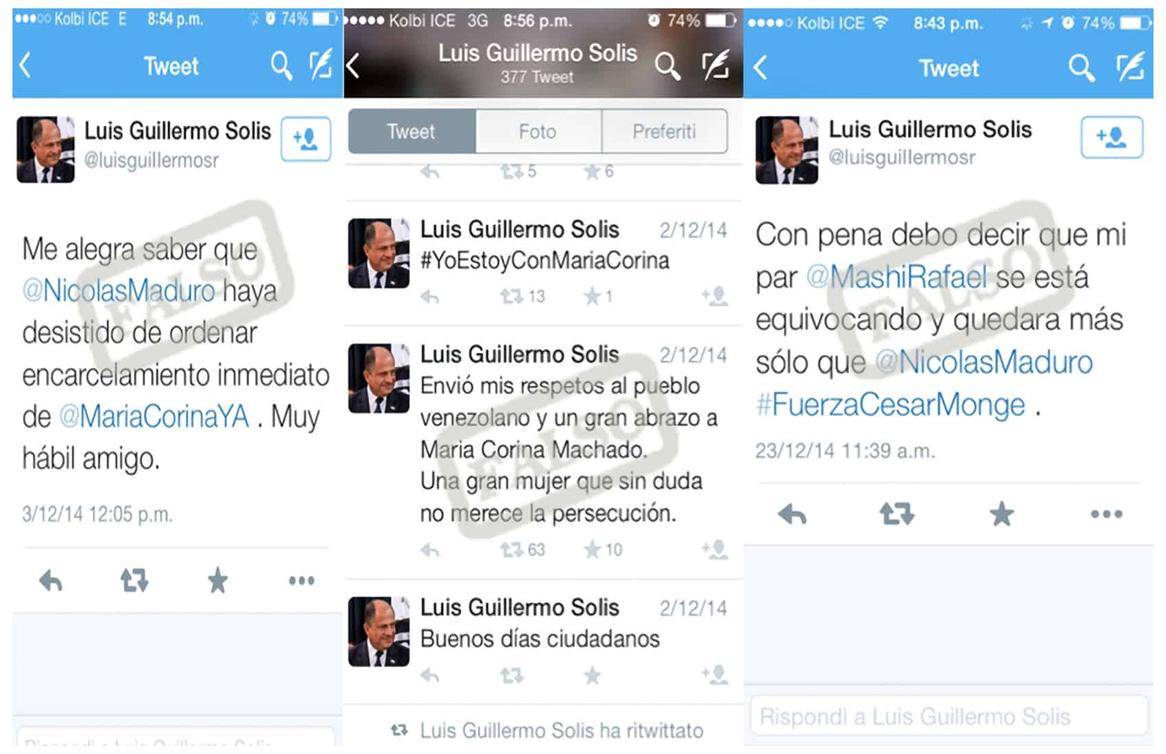 Tweets from fake President Solís account