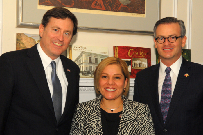 From left, Ramón Macaya, Costa Rica's ambassador to the United States, Alejandra Solano, deputy chief of mission at the Costa Rican Embassy in Washington, and Foreign Minister Manuel Antonio González Sanz.