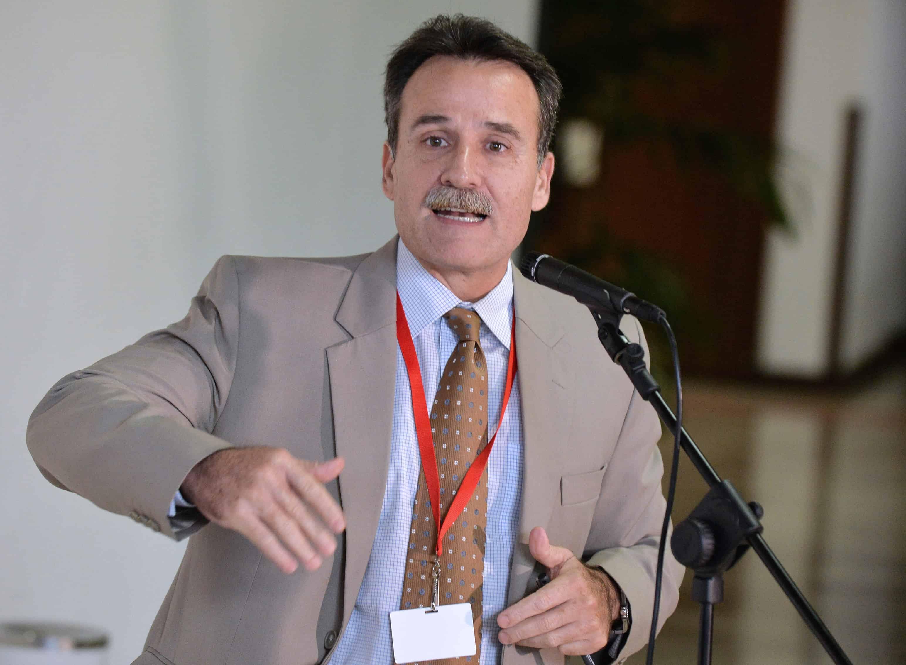 Cuba's Gustavo Machín talks to the press