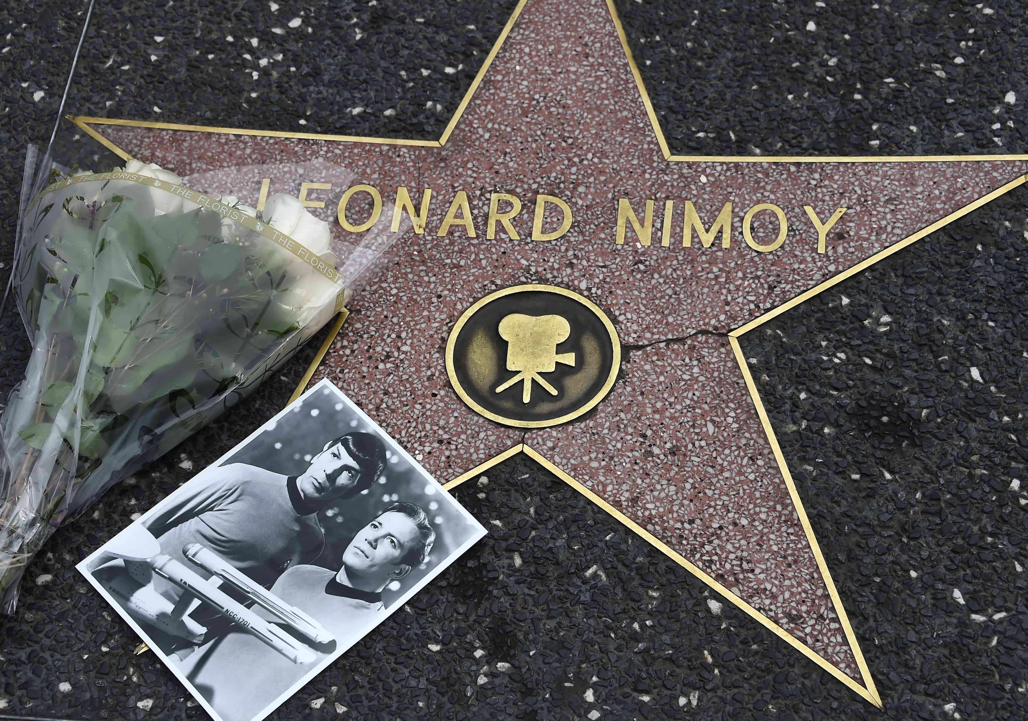 Flowers are placed on the star of actor Leonard Nimoy, Feb. 27, 2015 on the Hollywood Walk of Fame, in Hollywood, California.