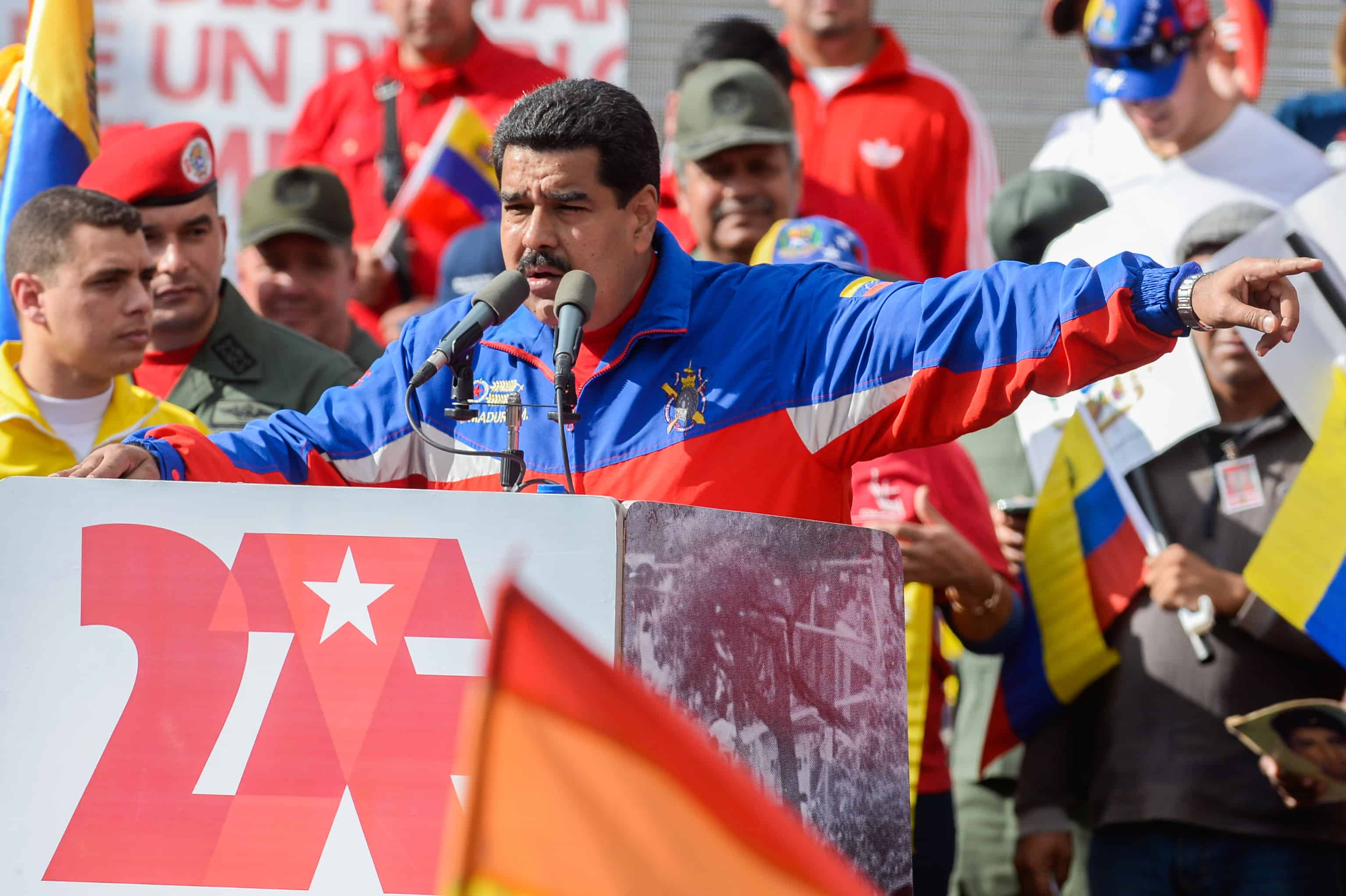 Venezuelan President Nicolás Maduro delivers a speech.