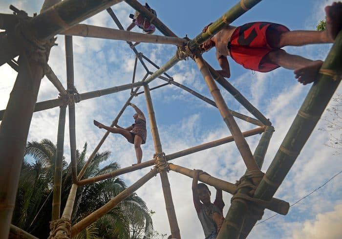 A bamboo jungle gym was one of the many structures built for the 2015 Envision Festival.