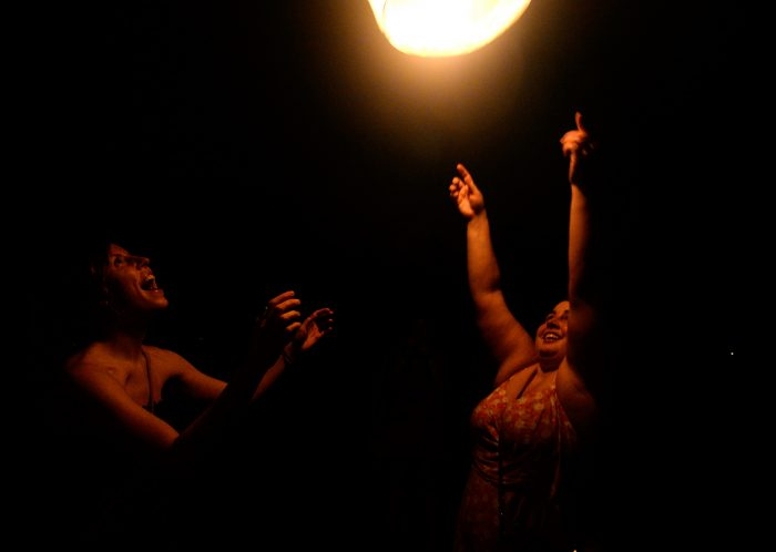 Envision attendants released paper lanterns during the festival's final sunset ceremony.