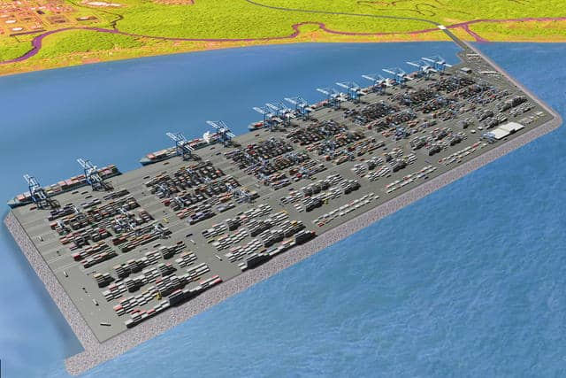 An illustration of the new Moin Container Terminal.