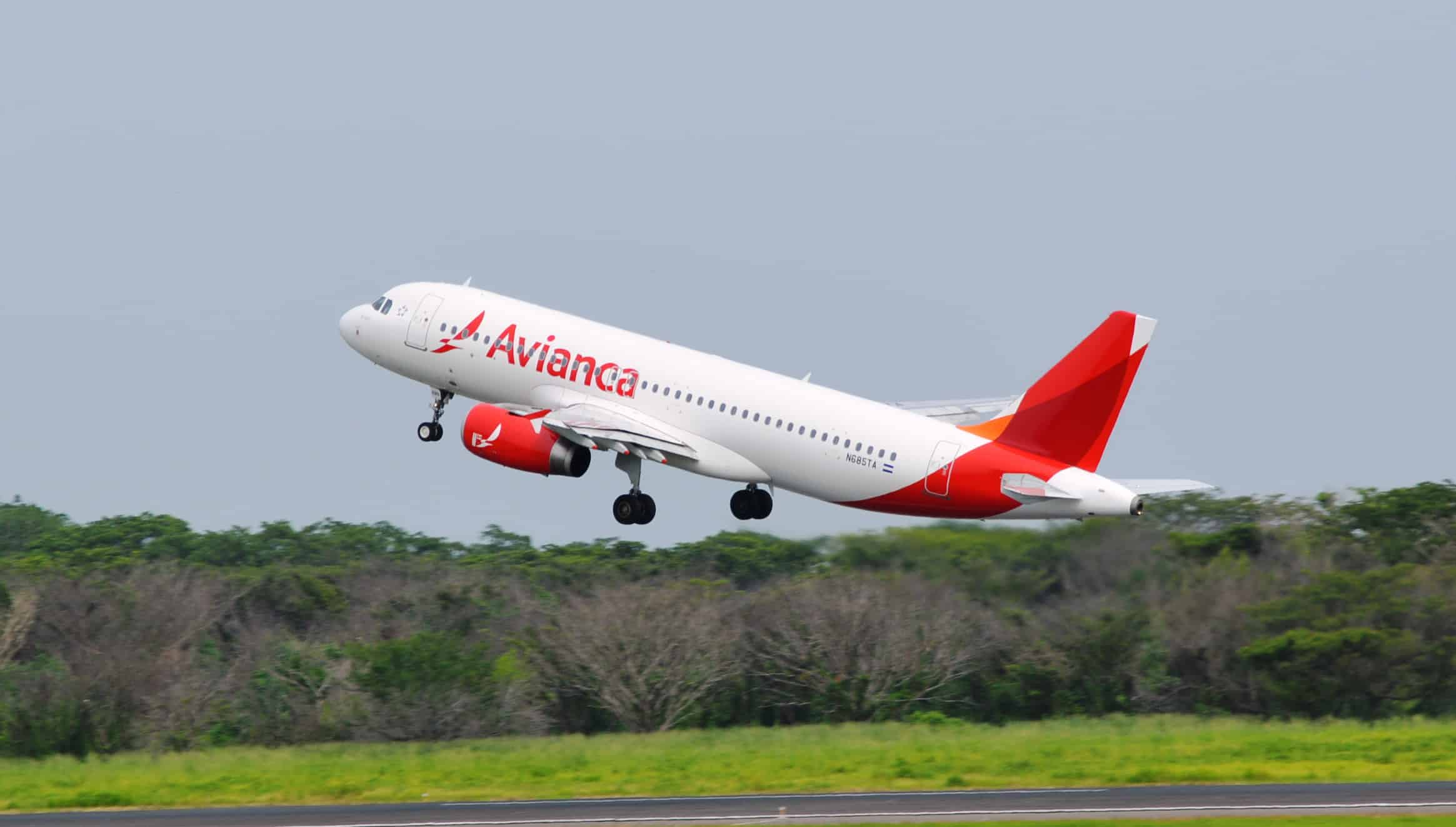 An Avianca flight takes off.