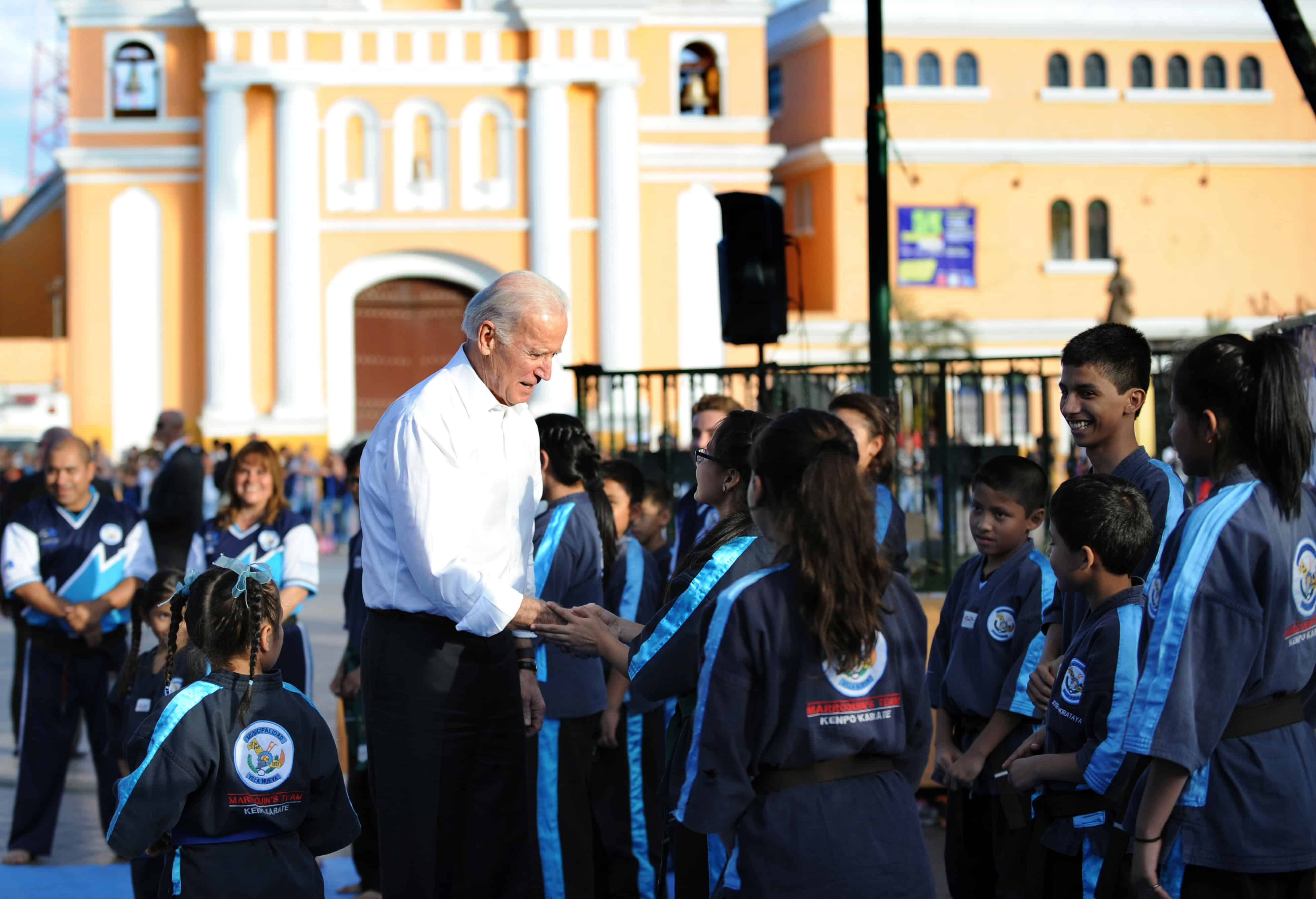 U.S. Vice President Joe Biden greets students during a visit to Guatemala in March.