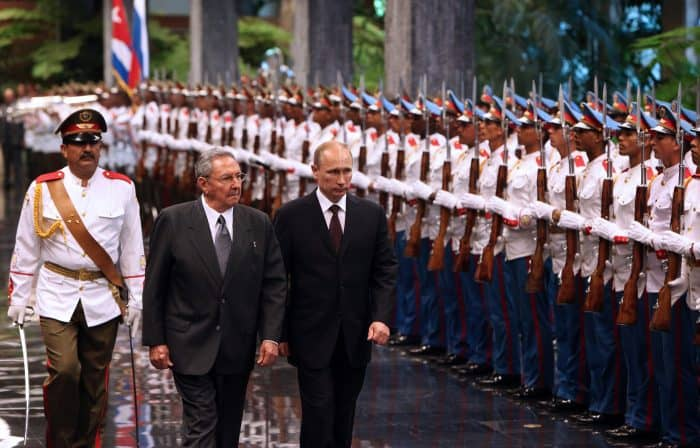 Russian President Vladimir Putin and Cuban counterpart Raúl Castro in Havana.