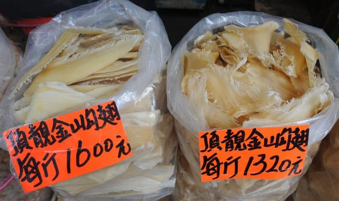 Dried shark fins on sale at a supplier in Hong Kong.
