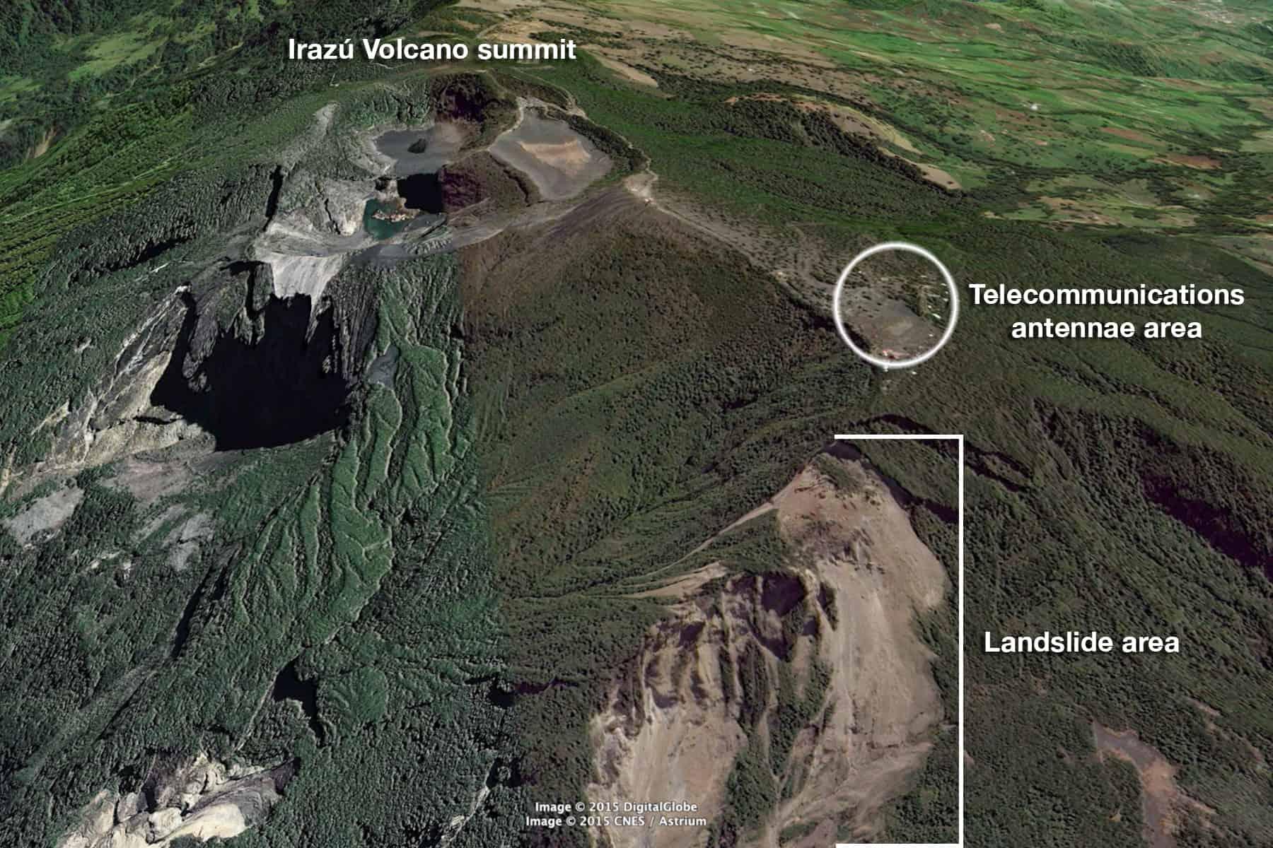 Landslides at Irazú Volcano