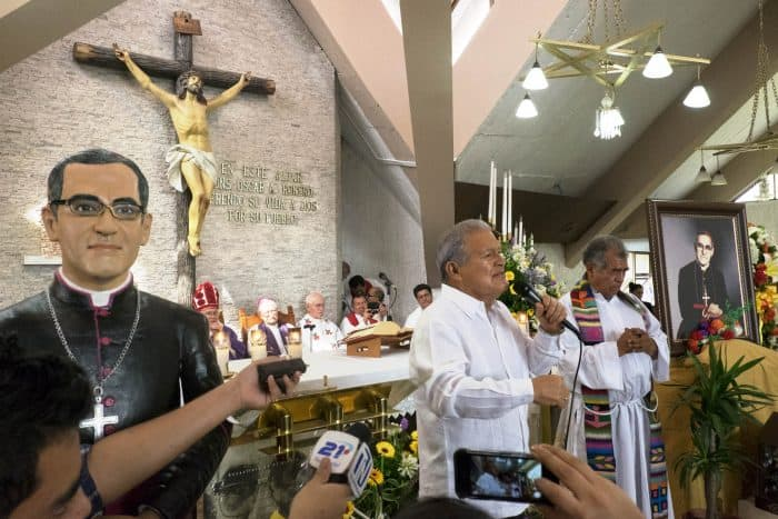 President Salvador Sánchez Cerén gives a speech to commemorate the 35th anniversary of Archbishop Romero's murder, March 24, 2015.